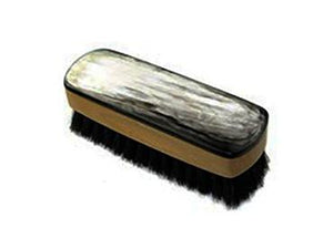 St James Shaving Emporium horn backed shoe polishing brush with dark bristles 120mm