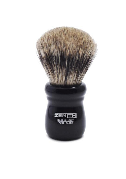 Zenith 505 shaving brush with best badger bristles and black resin handle