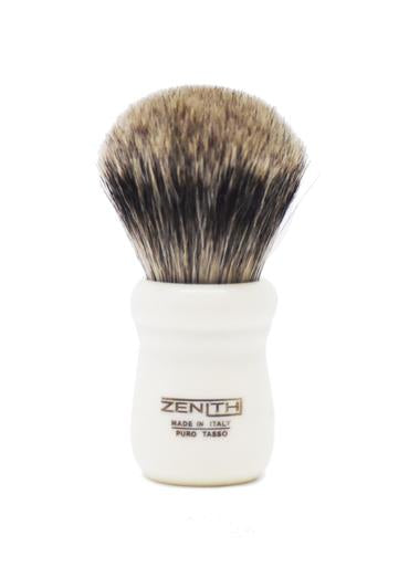 Zenith 505 shaving brush with best badger bristles and ivory resin handle