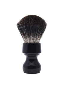 Zenith 506 shaving brush with black badger bristles and black resin handle