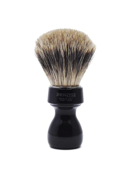 Zenith 506 shaving brush with best badger bristles and black resin handle