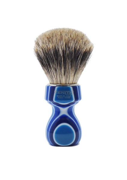 Zenith 506 shaving brush with best badger bristles and blue fantasia resin handle
