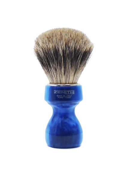 Zenith 506 shaving brush with best badger bristles and blue marble resin handle