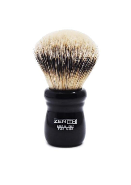 Zenith 505 shaving brushes with silvertip badger bristles and black resin handle