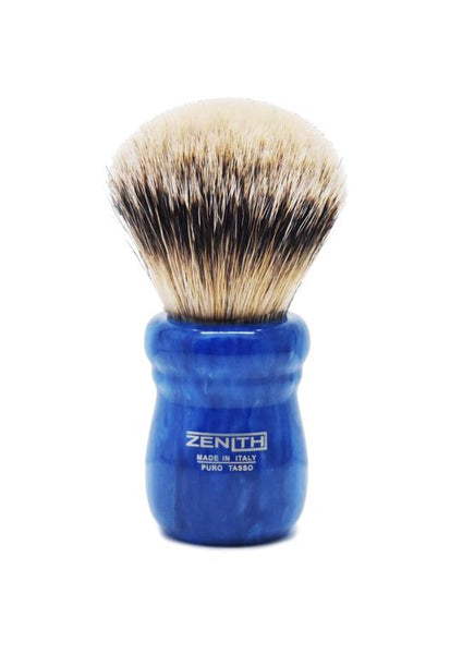 Zenith 505 shaving brushes with silvertip badger bristles and blue marble resin handle