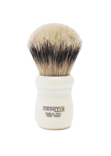 Zenith 505 shaving brushes with silvertip badger bristles and ivory resin handle