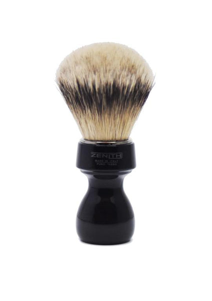 Zenith 506 shaving brushes with silvertip badger bristles and black resin handle
