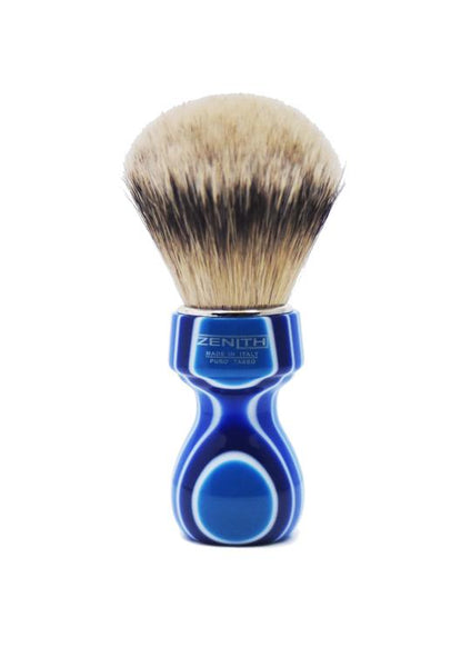 Zenith 506 shaving brushes with silvertip badger bristles and blue fantasia resin handle