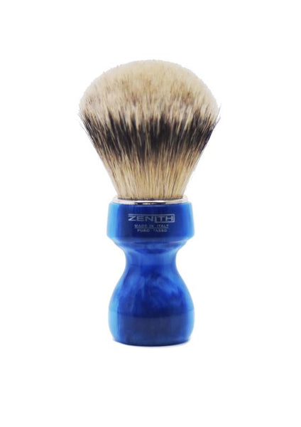 Zenith 506 shaving brushes with silvertip badger bristles and blue marble resin handle