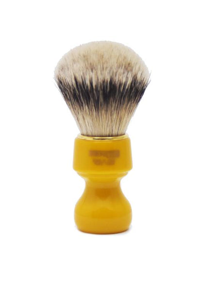 Zenith 506 shaving brushes with silvertip badger bristles and butterscotch resin handle