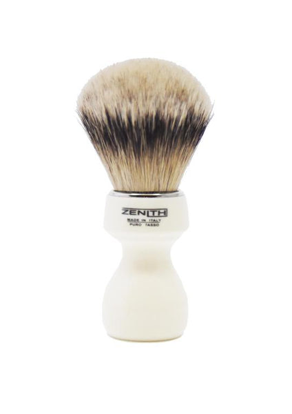 Zenith 506 shaving brushes with silvertip badger bristles and ivory resin handle