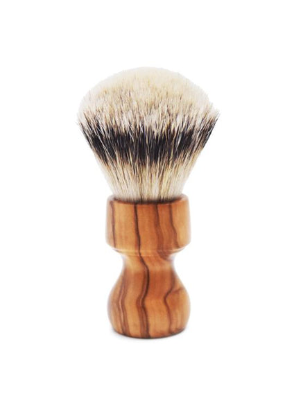 Zenith 506 shaving brushes with silvertip badger bristles and olive wood handle
