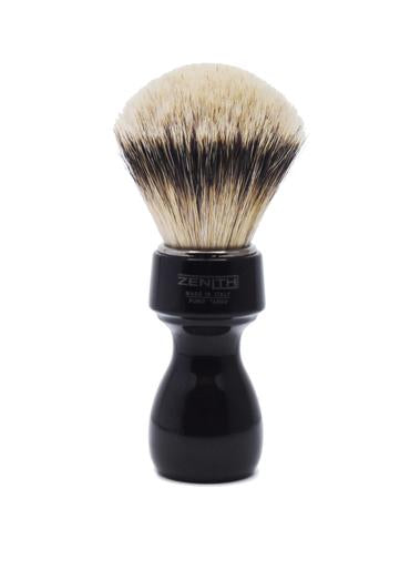 Zenith 507 shaving brushes with silvertip badger bristles and black resin handle