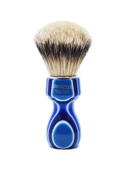 Zenith 507 shaving brushes with silvertip badger bristles and blue fantasia resin handle