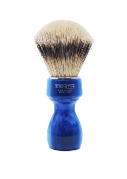 Zenith 507 shaving brushes with silvertip badger bristles and blue marble resin handle