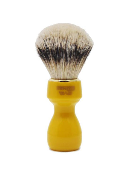 Zenith 507 shaving brushes with silvertip badger bristles and butterscotch resin handle