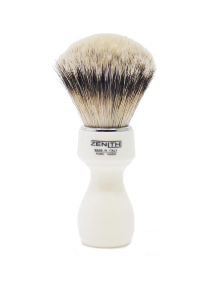 Zenith 507 shaving brushes with silvertip badger bristles and ivory resin handle