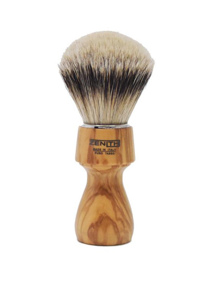 Zenith 507 shaving brushes with silvertip badger bristles and olive wood handle