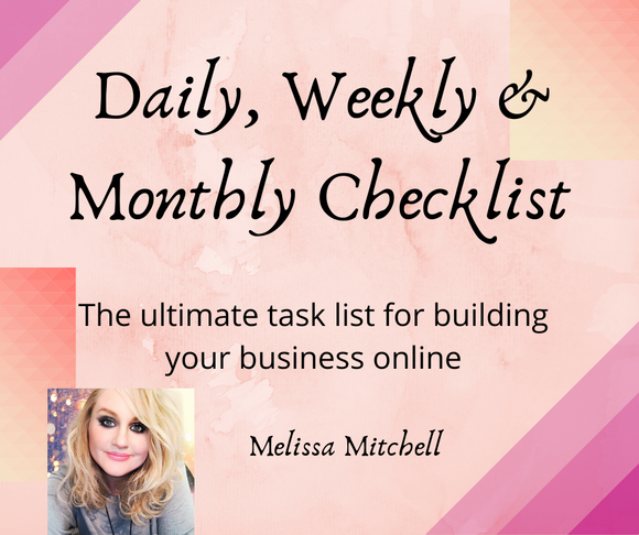 Daily, Weekly & Monthly Checklist - Melissa Mitchell Health & Wealth