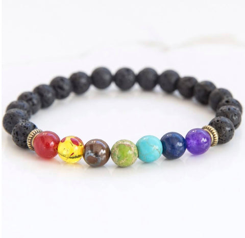 7 Chakra Healing Lava Rock Bracelet/Aromatherapy Oil Diffuser - Blue Bubble Aroma Supplies