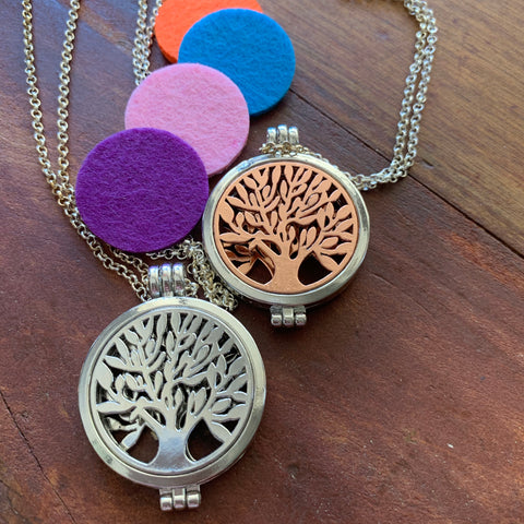 Tree of life Aromatherapy | Essential Oil Diffuser Locket Necklace - Blue Bubble Aroma Supplies