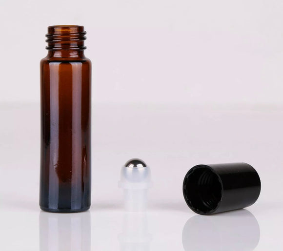10ml X 12 Amber Roller Bottles - Thick Glass - Melissa Mitchell Health & Wealth