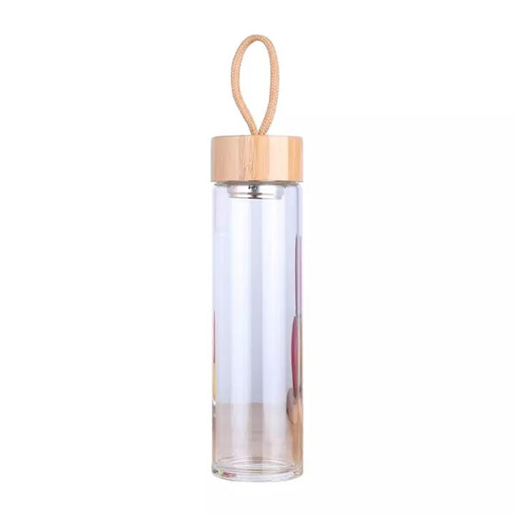 Glass Bottle with Bamboo Lid - Melissa Mitchell Health & Wealth