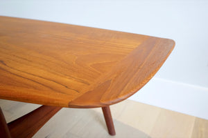 Danish Teak Surfboard Coffee Table by Arne Hovmand Olsen for Mogens Kold