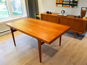 Large Teak Extendable Dining Table by Einar Hallas for Faarup