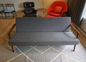 Sleek MCM Teak Sofa - New Maharam Wool