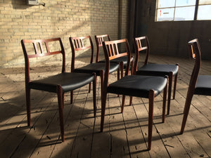 Six Model 79 Rosewood Dining Chairs by Niels Otto Møller for J. L. Møllers Møbelfabrik
