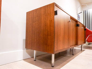 Early Florence Knoll Walnut Credenza w/ Bowtie Knoll tag