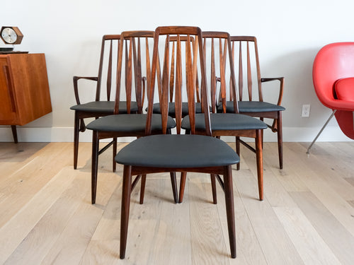 Six Rosewood Eva Dining Chairs by Niels Kofoed for Koefoeds Møbelfabrik