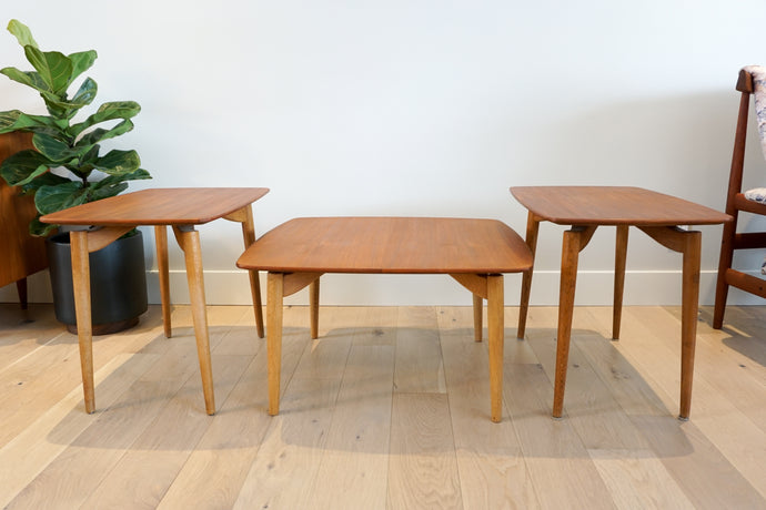 Danish Modern Teak & Oak Coffee Table Set by Arne Vodder for Poul Jeppesen