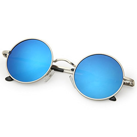 1b8d02bc8f40 Joopin-Round Retro Polaroid Sunglasses Driving Polarized Sun Glasses Men  Steampunk Vintage (Ice Blue