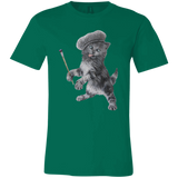 Green  Unisex Jersey Cat TShirt - Crazy Kitten Collection from Artisticat