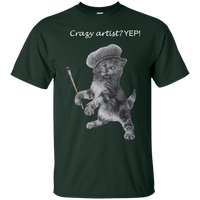Forest Green Mens Cotton T-Shirt for Artists - Crazy Kitten Collection
