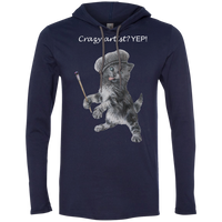 Navy Mens TShirt Hoodie in Black, Grey or Navy - Crazy Kitten Collection