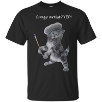 Black Mens Cotton T-Shirt for Artists - Crazy Kitten Collection