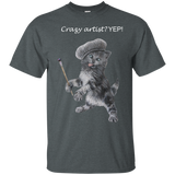 Grey Mens Cotton T-Shirt for Artists - Crazy Kitten Collection