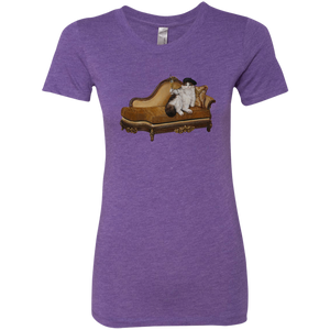 Purple Artisticat Ladies' Triblend  Cat TShirt - Cats Without Words
