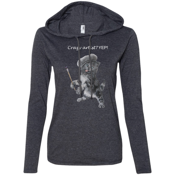 grey Ladies Hoodie in Grey or Black - Crazy Kitten Collection - Artistsicat