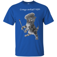 Bright Blue Mens Cotton T-Shirt for Artists - Crazy Kitten Collection