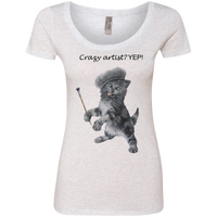 White Ladies' Triblend Scoop Cat Shirt - Crazy Kitten Collection From Artisticat