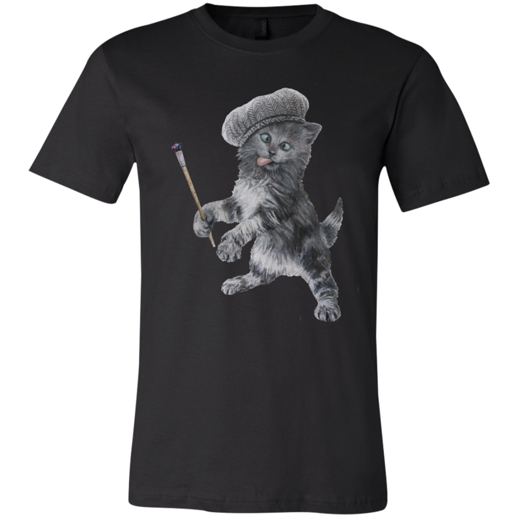 Black  Unisex Jersey Cat TShirt - Crazy Kitten Collection from Artisticat
