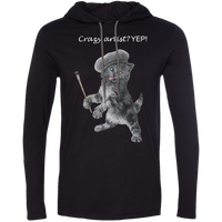 Mens TShirt Hoodie in Black, Grey or Navy - Crazy Kitten Collection
