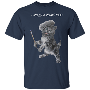 Blue Mens Cotton T-Shirt for Artists - Crazy Kitten Collection