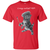 Red Mens Cotton T-Shirt for Artists - Crazy Kitten Collection