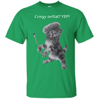 Green Mens Cotton T-Shirt for Artists - Crazy Kitten Collection
