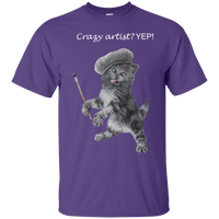 Mens Cotton T-Shirt for Artists - Crazy Kitten Collection